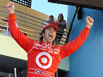 Dario Franchitti celebrates after winning the IRL IndyCar Series Firestone Indy 300 and the IRL IndyCar Series Championship on October 10, 2009 at Homestead-Miami Speedway in Homestead, Florida. (Robert Laberge/Getty Images)