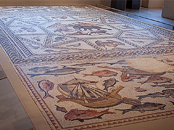 MASSIVE FIND: A well-preserved mosaic dating back to Roman-ruled Israel in the fourth century on display at the Metropolitan Museum of Art. (Henry Lam/The Epoch Times)
