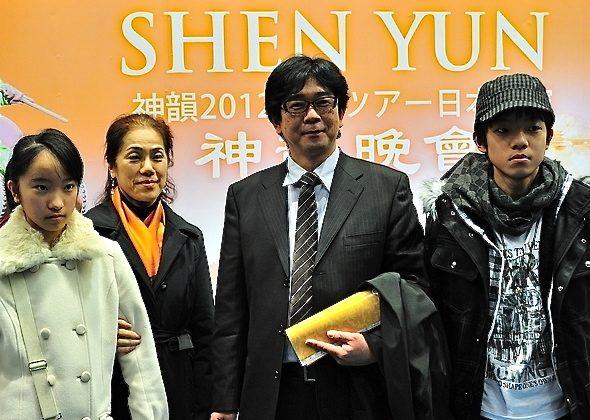 Mr. Kenji Morikawa and his family attend Shen Yun Performing Arts in Hiroshima, Japan, on Feb. 19. (Liang Chaoren/The Epoch Times)