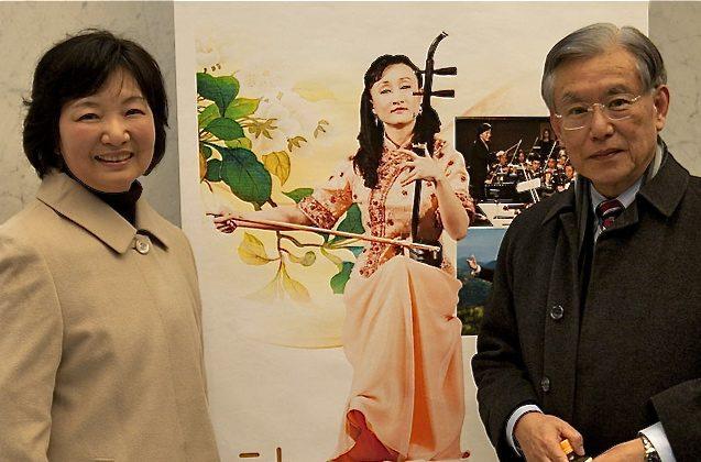 Professor Bunzo Suzuki, from Hiroshima University of Economics, with his wife, Eiko Suzuki, saw Shen Yun for the first time. (Liang Chaozen/The Epoch Times)
