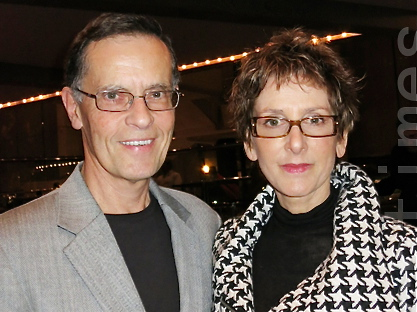 Museum manager Tom Kaltenbaugh and artist and art teacher, Betsy Lester, attend Shen Yun Performing Arts in Tampa, on Saturday, March 3. (Sally Sun/The Epoch Times)