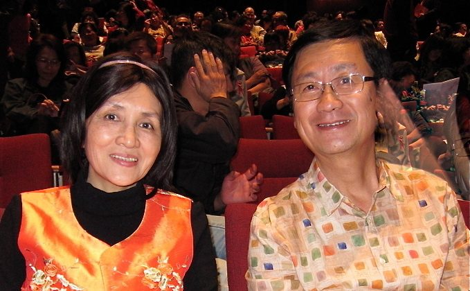 Governor of Division F, Taiwan Toastmasters International, Shw-Yuan Huang (L), and her husband, Chiho Chen, attend Shen Yun Performing Arts in Taichung. (Deman Dai/The Epoch Times)