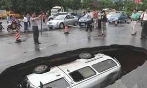 Sinkhole Swallows Van in China
