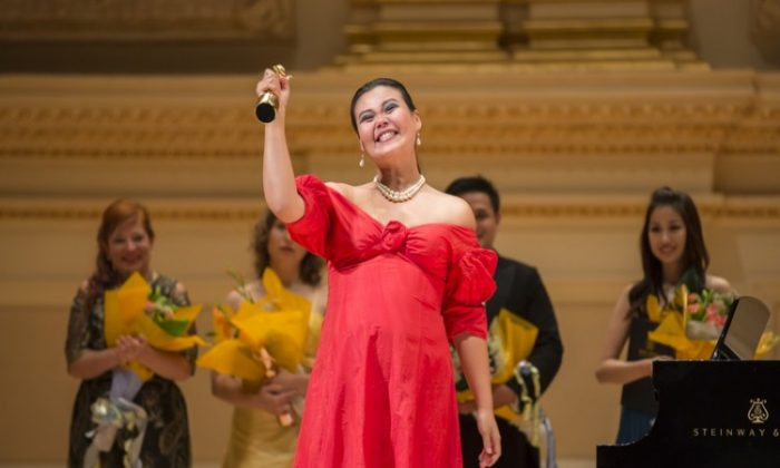 The award ceremony of NTD's annual vocal competition concludes at Carnegie Hall. The 2021 competition will take place in October, and the deadline for applications is Sept. 23, 2021. (DAI BING/THE EPOCH TIMES)