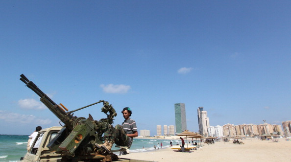 Libyan National Transitional Council (NTC) on Tripoli's beach on September 26, 2011. (Karim Sahib/AFP/Getty Images}