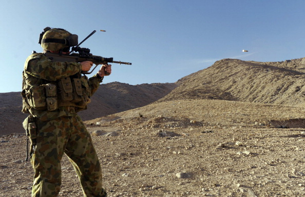 This file photo taken on January 20, 2010 shows an Australian soldier of the Omlet-c Company taking part in practice shooting at the forward operating base in southern Oruzgan province in Afghanistan. (Deshakalyan Chowdhury/AFP/Getty Images)