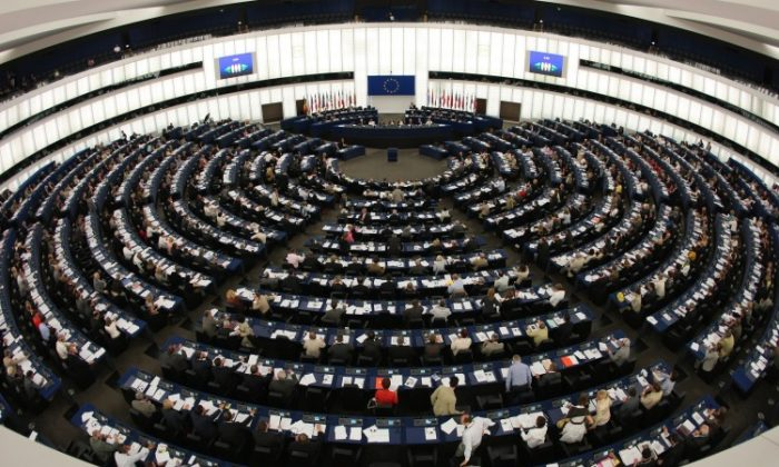View of the hemicycle of the European Parliament in Strasbourg on July 8, 2008, during the vote session about a law requiring airlines to cap their emissions of CO2 from 2012 and to pay for a portion of the pollution generated. (Johanna Leguerre/AFP/Getty Images)