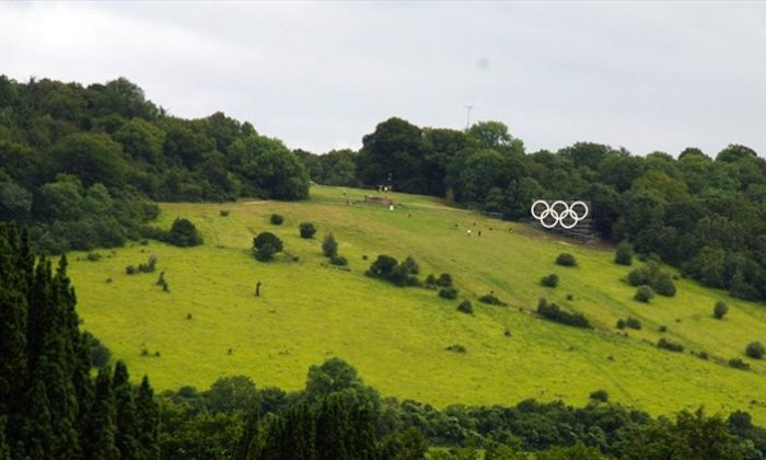 Olympic Rings unveiled in Surrey, England. (LOCOG/www.london2012.com)