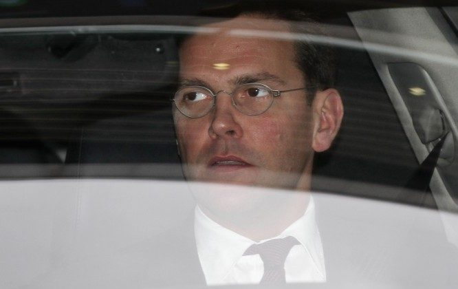 James Murdoch leaves the annual general meeting of BSkyB after resisting calls for him to stand down as chairman on November 29, 2011 in London, England. (Oli Scarff/Getty Images)