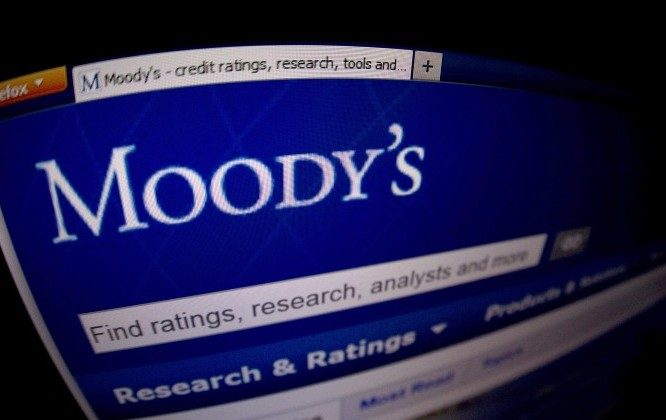 This picture taken on Jan. 17, 2012 in Paris shows a close-up of the opening page of the ratings agency Moody's website. (Joel Saget/AFP/Getty Images)
