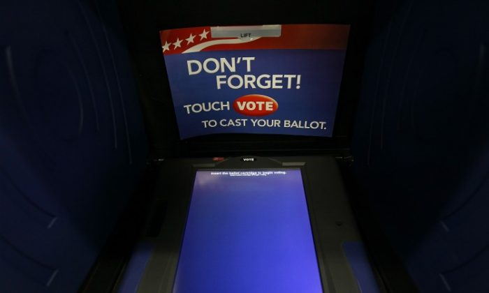 A South Carolina voting booth is shown at the Shandon Fire Station January 21, in Columbia, South Carolina. (Win McNamee/Getty Images)
