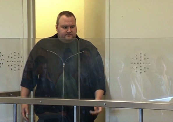 This video grab taken from pool video footage shows Megaupload founder Kim Dotcom, attending the North Shore court in Auckland on January 25, 2012. (Pool/AFP/Getty Images)
