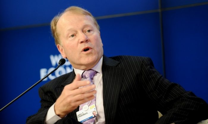 Cisco Systems Inc. CEO John Chambers is seen at the World Economic Forum in Davos, Switzerland, on Jan. 25. (Vincenzo Pinto/AFP/Getty Images)
