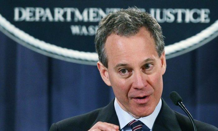 New York Attorney General Eric Schneiderman speaks during a news conference at the Justice Department on January 27, in Washington. (Mark Wilson/Getty Images)