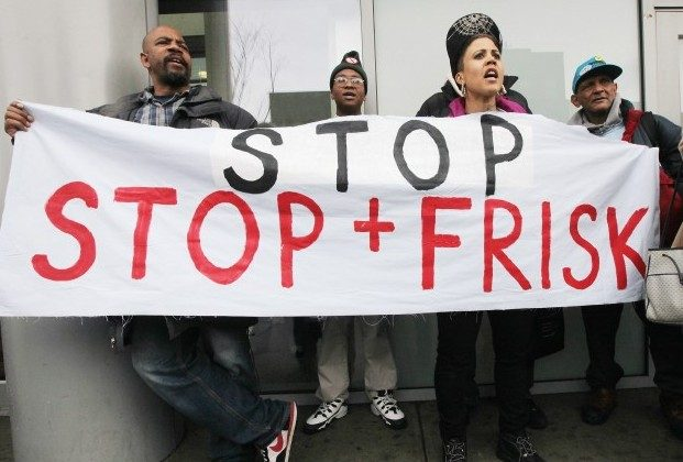 Opponents of the New York Police Department's controversial 'stop-and-frisk' policy rally on January 27, in the Bronx borough of New York City. The NYPD says the stops assist crime prevention while opponents say they involve racial profiling and civil rights abuses. (Mario Tama/Getty Images)