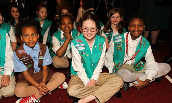 Local Scouts at the Launch of ToGetHerThere>> at Capitol Hill Cannon House Office Bldg, Caucus Room on Feb. 1. (Paul Morigi/Getty Images for Girl Scouts of America)