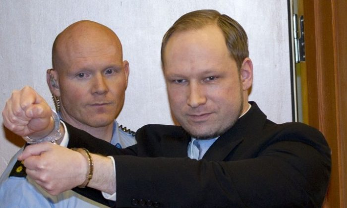 Anders Behring Breivik arrives in a court in Oslo on February 6, 2012. (Daniel Sannum Lauten /AFP/Getty Images)