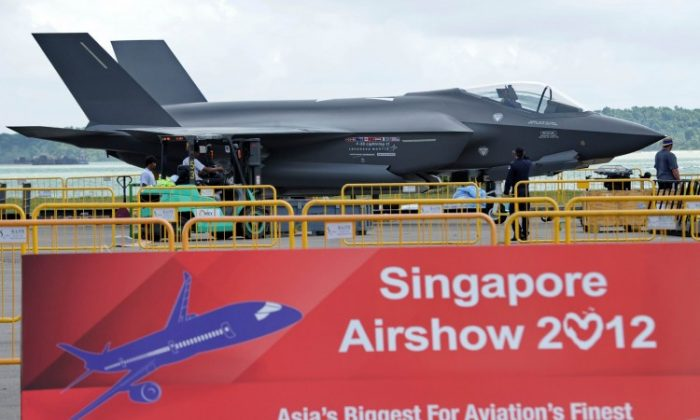 A Lockheed Martin's F-35 Lighning II fighter jet sits on the tarmac for static display at the Singapore Airshow in Singapore on February 12. (ROSLAN RAHMAN/AFP/Getty Images)