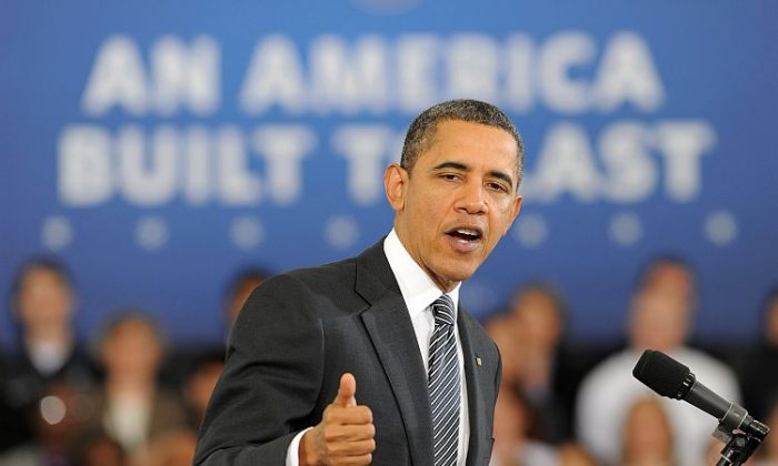 President Barack Obama speaks on his 2013 budget to students at Northern Virginia Community College in Annandale, Va., on Feb. 13. Key features of the budget include rebuilding jobs, increasing innovation and manufacturing, deficit reduction, and tax reform. (Jewel Samad/AFP/Getty Images)