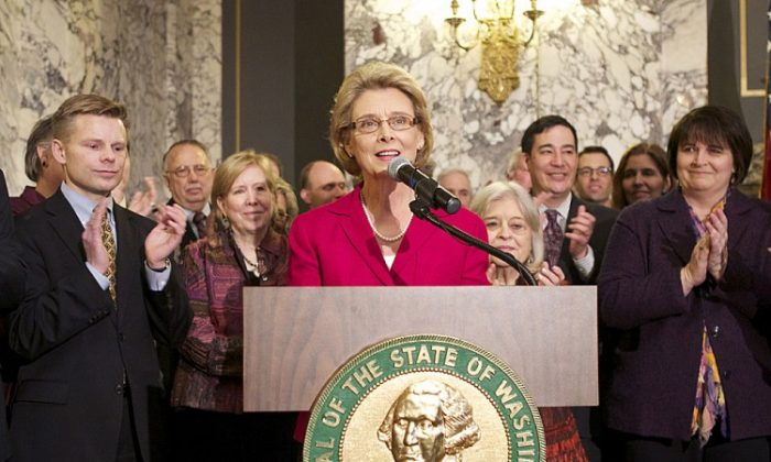 Washington State Governor Chris Gregoire speaks at the state capitol in Olympia, Washington, February 13. (Stephen Brashear/Getty Images)