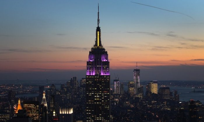 The Empire State Building towers over the Manhattan skyline on February 13, in New York City. (John Moore/Getty Images)