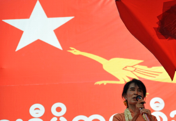 Myanmar democracy leader Aung San Suu Kyi delivers a speech in Pyar Pon, Irrawaddy delta region in the Irrawaddy division on February 17, 2012. (Soe Than Win/AFP/Getty Images)