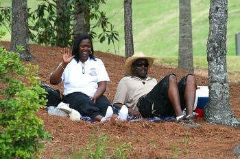 Fans can find comfortable viewing spots all around the track. (James Fish/The Epoch Times)