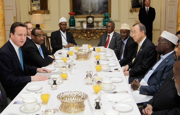 British Prime Minister David Cameron, (L) leads a breakfast meeting with representatives of Somalia and the United Nations at 10 Downing Street in London, on February 23, 2012. (Sang Tan/AFP/Getty Images)