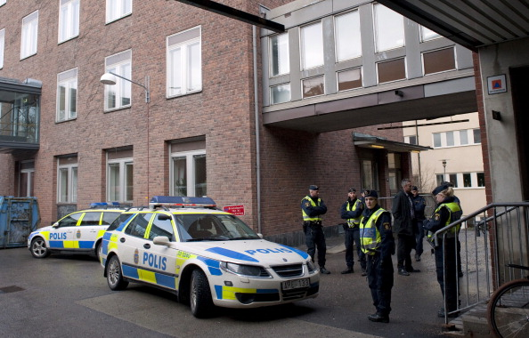 Police officers stand guard outside the maternity wing at the Karolinska Sjukhuset hospital in Stockholm where Crown Princess Victoria early on February 23, 2012 gave birth to a baby girl. (Johnathan Nackstrand/AFP/Getty Images)