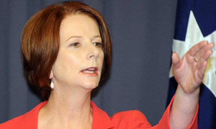 Australian Prime Minister Julia Gillard during a press conference following her victory in the Labor leadership challenge at Parliament House in Canberra, on Feb. 27, 2012. (Torsten Blackwood/AFP/Getty Images)