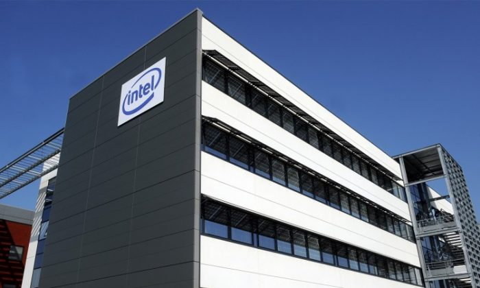 The Intel logo is seen on the U.S. microprocessor giant's new smartphone research and development center in Toulouse, France, on March 2. (Remy Gabalda/AFP/Getty Images)