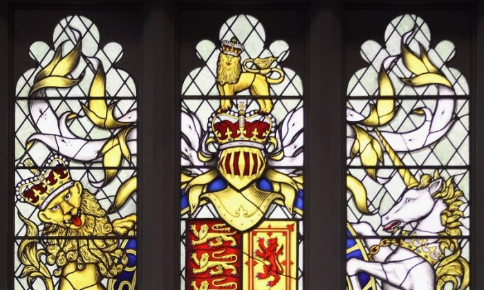 A magnificent stained glass widow is given as a gift to the Queen by British peers and MPs. (Dan Kitwood/Getty Images)
