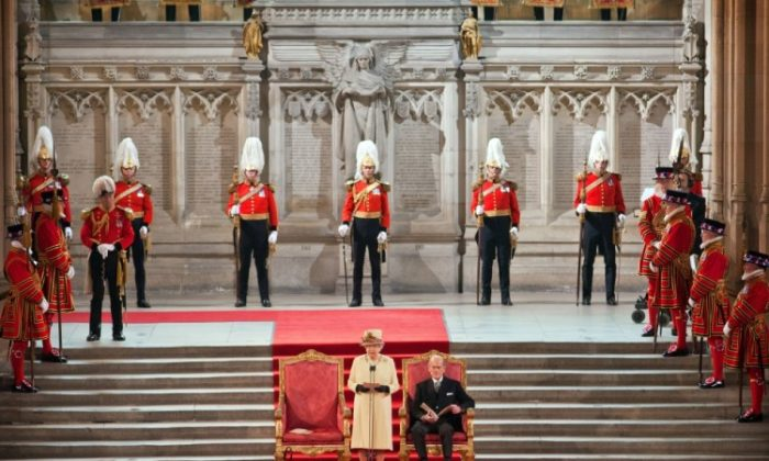 Queen Elizabeth II addresses both Houses of Parliament as Prince Philip, Duke of Edinburgh looks on, in Westminster Hall on March 20, 2012 in London, England. (Jack Hill - WPA Pool /Getty Images)