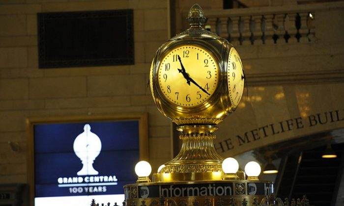 Grand Central Station's most well-known icon, the clock (C) atop the main hall information booth. (TIMOTHY A. CLARY/AFP/Getty Images)