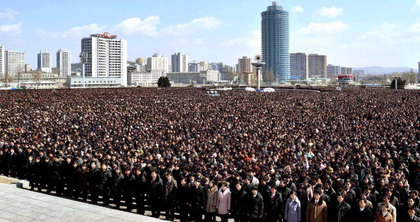 This picture taken by North Korea's official Korean Central News Agency on March 25, 2012 shows Pyongyang's Kim Il Sung square crammed with people for a national memorial service on the 100th day since the death of late leader Kim Jong Il. (AFP/Getty Images)