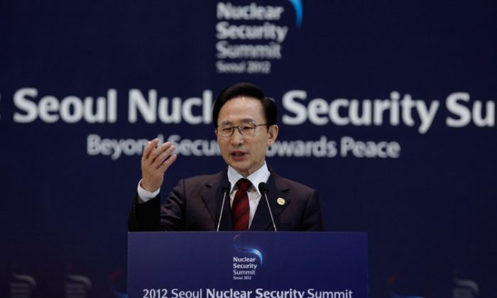 South Korean President Lee Myung-bak speaks during a press conference at the 2012 Seoul Nuclear Security Summit on March 27, 2012 in Seoul, South Korea. (Chung Sung-Jun/Getty Images)