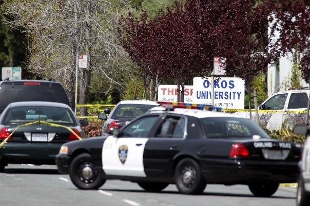 Police secure the scene at Oikos University after a shooting that killed multiple people on April 2, in Oakland, Calif. According to the Oakland Police Department, the shooting suspect is in custody. (Jed Jacobsohn/Getty Images)