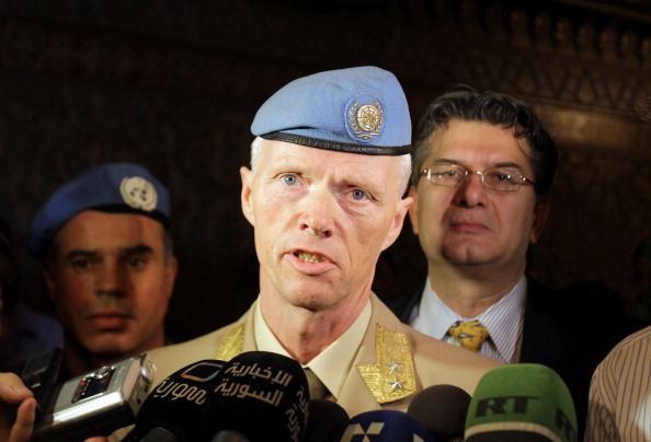Norwegian Major General Robert Mood, who negotiated with Syrian authorities the conditions for the deployment of an advance team, speaks to the press upon his arrival at Damascus airport on April 29, 2012. (Louai Beshara/AFP/Getty Images)