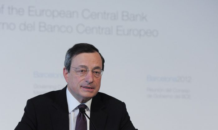 European Central Bank (ECB) President Mario Draghi gives a press conference after a governing council meeting of the European Central Bank on May 3 in Barcelona. (Josep Lago/AFP/GettyImages)