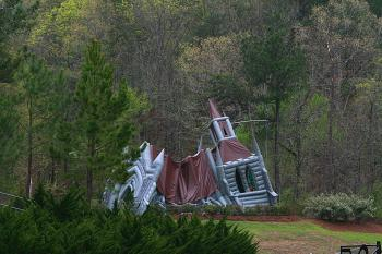 Not sure why there is a partially inflated rubber chapel here, but there is. (James Fish/The Epoch Times)