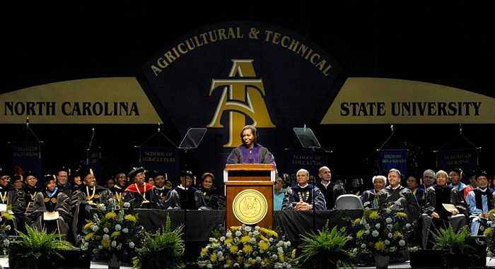 First lady Michelle Obama speaks to graduates at the North Carolina Agricultural and Technical State University (NCA&T) commencement, May 12, in Greensboro, N.C. Michelle Obama was honored with a doctorate in humanities. (Sara D. Davis/Getty Images)