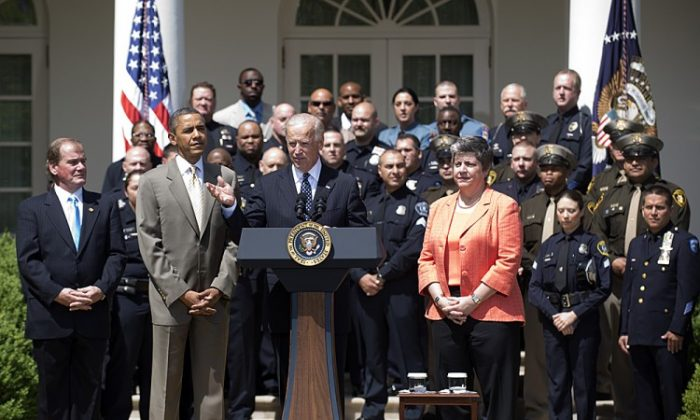 (L-R) President of National Association of Police Organizations, Tom Nee, U.S. President Barack Obama, U.S. Vice President Joe Biden and Secretary for Homeland Security Janet Napolitano honor the 2012 National Association of Police Organizations (NAPO) TOP COPS award winners during a ceremony in the Rose Garden of the White House on May 12, 2012 in Washington, D.C. The ceremony honored 34 officers from around the country, including Detroit, Las Vegas and New York. (Ron Sachs-Pool/Getty Images)