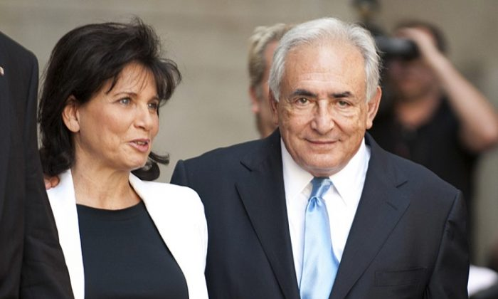 Former International Monetary Fund (IMF) chief Dominique Strauss-Kahn and his wife Anne Sinclair in New York on July 1, 2011. (DON EMMERT/AFP/GettyImages)