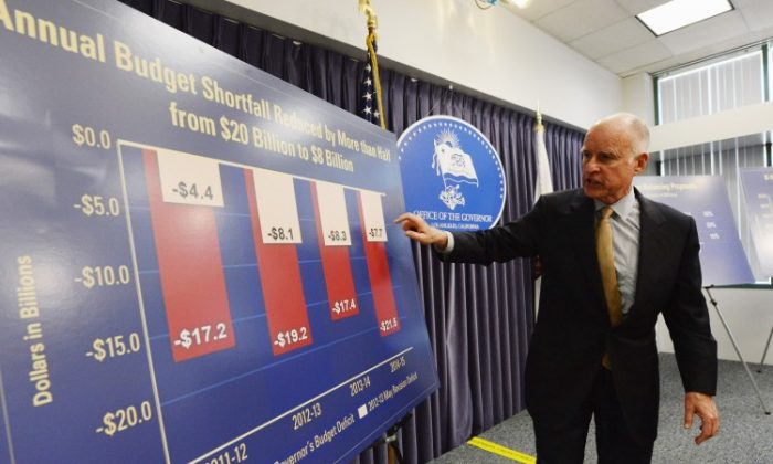California Gov. Jerry Brown speaks during a news conference about the state budget on May 14 in Los Angeles, Calif. Brown proposes $8.3 billion in cuts to help close a projected $16 billion budget shortfall. (Kevork Djansezian/Getty Images)