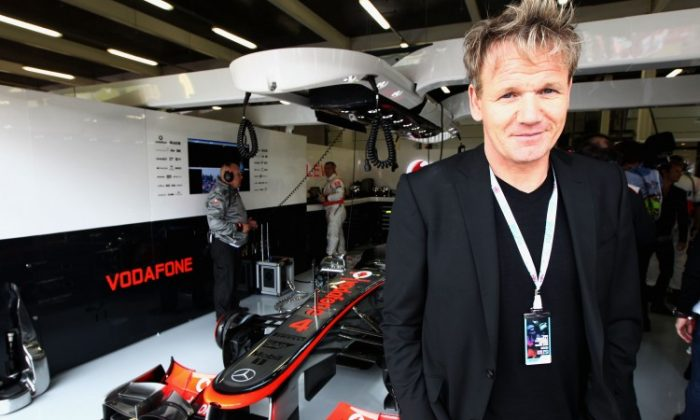 Gordon Ramsay is seen here before the British Grand Prix at Silverstone Circuit on July 8, 2012 in Northampton, England. (Andrew Hone/Getty Images)