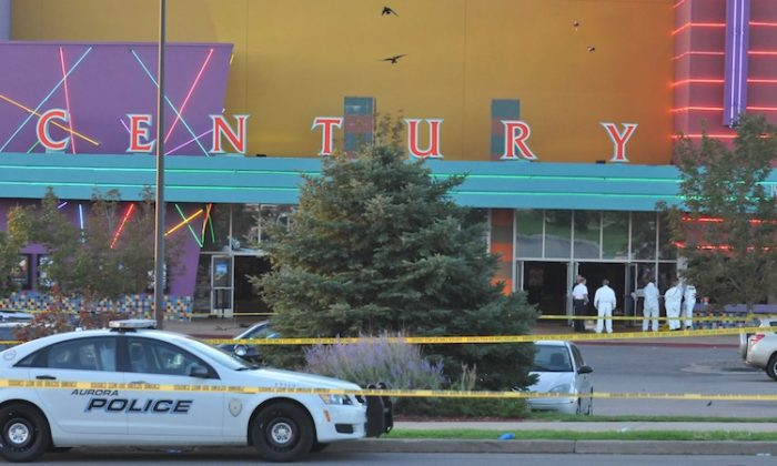 "The Century 16 movie theatre is seen where a gunmen attacked movie goers during an early morning screening of the new Batman movie, ""The Dark Knight Rises"" July 20, in Aurora, Colo. (Thomas Cooper/Getty Images)"