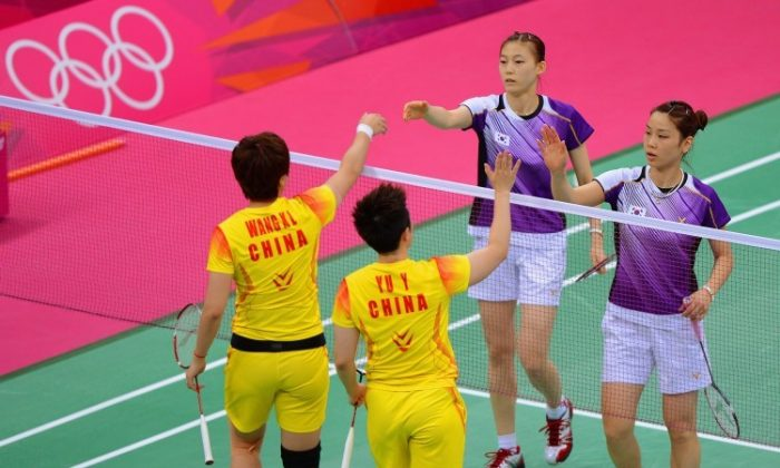 A badminton match at the London 2012 Olympic Games on July 31. Eight female badminton players were disqualified. (Michael Regan/Getty Images)