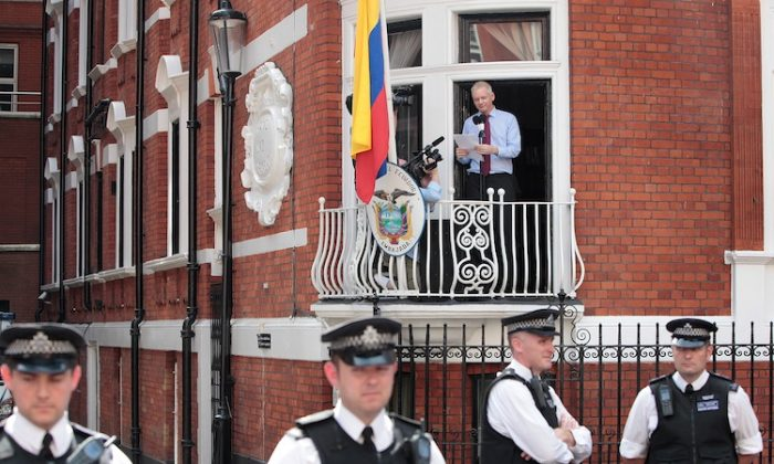 Wikileaks founder Julian Assange speaks from the balcony of the Equador embassy in Knightsbridge on August 19, 2012 in London, England. (Rosie Hallam/Getty Images)