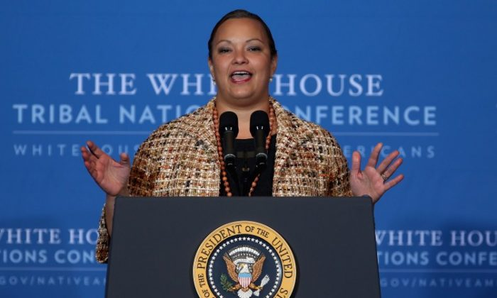 EPA Administrator Lisa Jackson addresses the White House Tribal Nations Conference on Dec., 5, 2012, in Washington, D.C. Jackson has resigned from her post, she announced Thursday. (Chip Somodevilla/Getty Images)