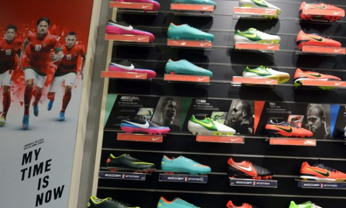 This picture taken in Jakarta on Jan. 15, 2012 shows Nike shoes displayed at a shop in Jakarta. (Adek Berry/AFP/Getty Images)